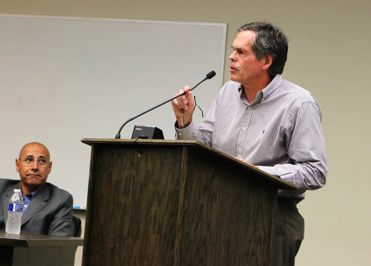 Bob Tiffany explained the benefits of the proposed philanthropic center to the community.