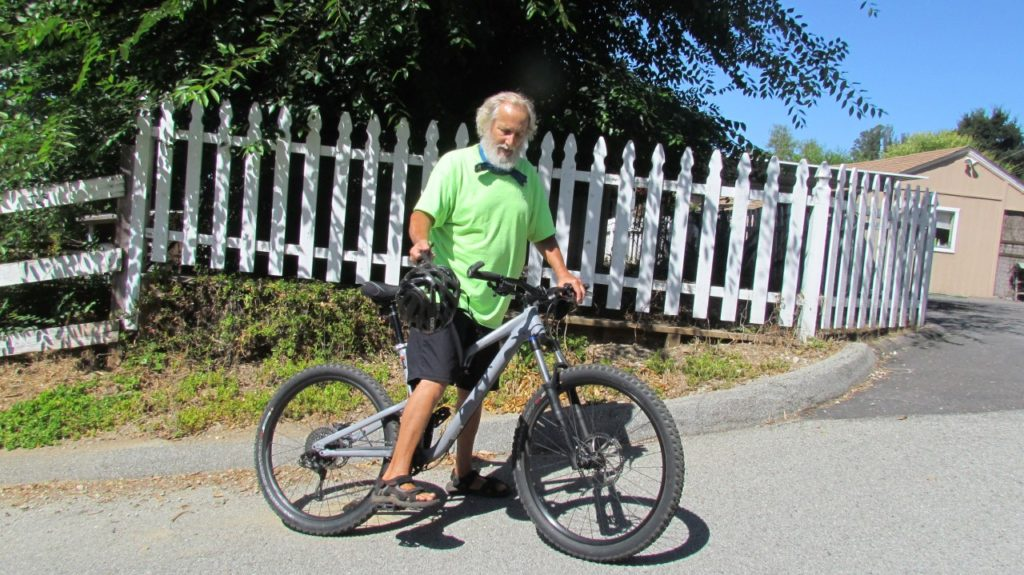 Paul Welch frequently cruises around Aromas on his bike.