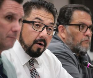 San Benito High School Superintendent John Perales, center in this file photo, tendered his resignation to the Board of Trustees, which accepted it on Jan. 13, 2017. (John Chadwell photo)