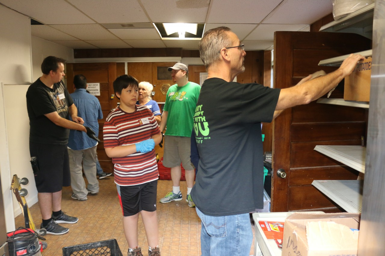 Members of South Valley Community Church recently helped out with constructing shelves and minor repairs