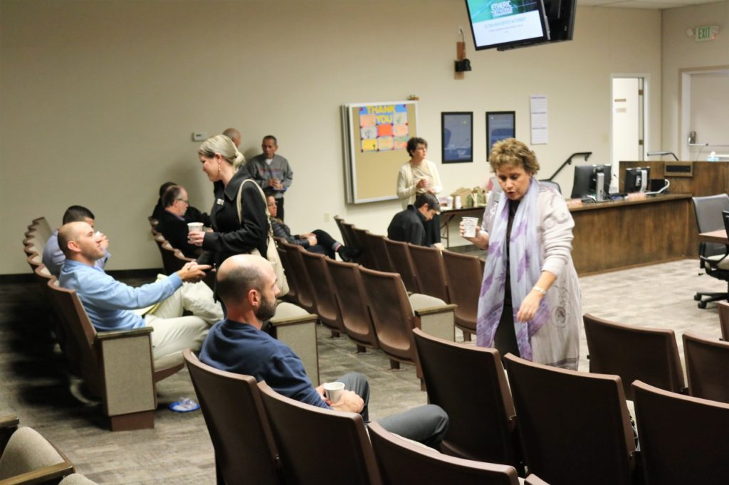 There was a small turnout for the city open house to discuss businesses' concerns and hear a presentation on internet services for downtown. Photos by John Chadwell.