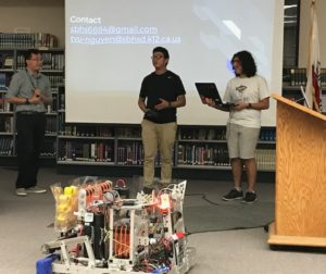 SBHS Robotics Club members present their vision at board meeting. Photo Courtesy of Adam Breen
