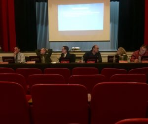 The meeting was held in the SBHS Auditorium