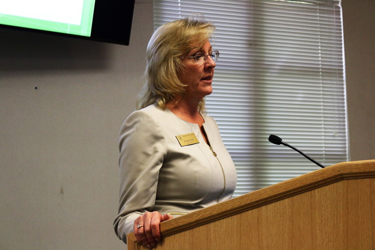 Hollister School District Superintendent, Lisa Andrew speaks at Board of Supervisors. File photo by John Chadwell