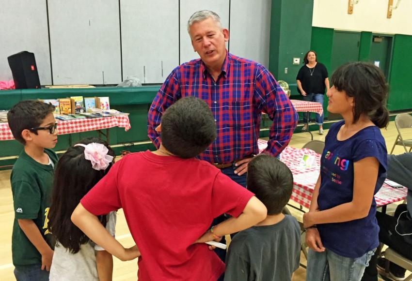 Rob Bernosky, Hollister School District Board member talks to students. File photo courtesy Rob Bernosky
