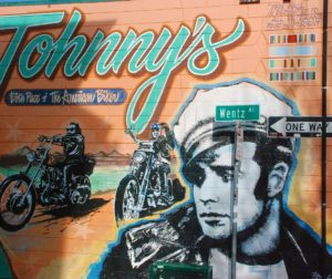 The mural on the outside of Johnny's Bar & Grill in Hollister.