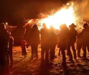 Robert Eliason photo of the annual bonfire held near the San Juan Bautista Mission Dec. 15