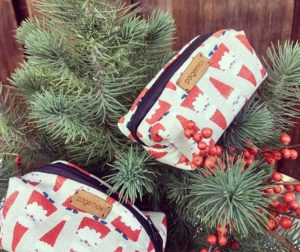 Holiday-themed pouches by Paige Mox. Photos courtesy of Vertigo Coffee Roasters.