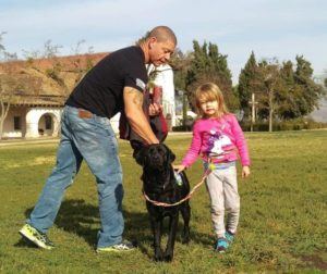 Kelani Urata worked with her father Chris and dog Lisa in San Juan Bautista on Saturday
