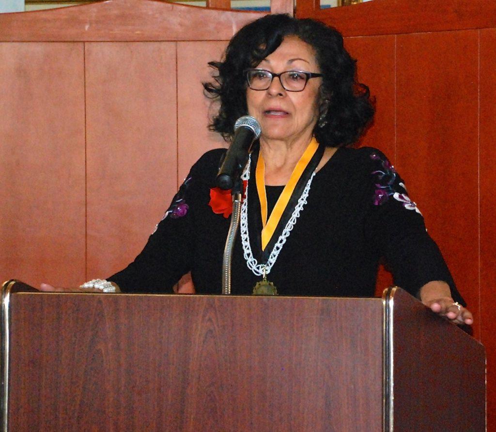 Attorney Elvira Zaragoza Robinson speaks after receiving the Martin Luther King Freedom award Monday at San Juan Oaks Golf Club in Hollister
