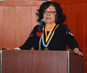 Attorney Elvira Zaragoza Robinson speaks after receiving the Martin Luther King Freedom award Monday at San Juan Oaks Golf Club in Hollister