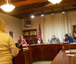 San Juan Bautista resident Jolene Cosio addresses the San Juan Bautista City Council during a discussion Tuesday night on postponing a hearing to remove Planning Commission Chairman John Hopper.