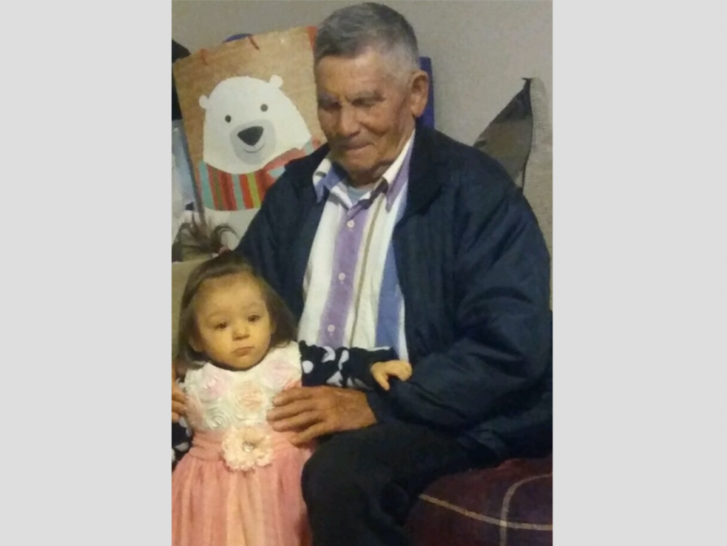 Baudelio Banuelos, Victor's grandfather. The little girl in the photo is Victor's cousin Mia Ramirez. The photo was taken in 2017. Photo courtesy Victor Sanchez