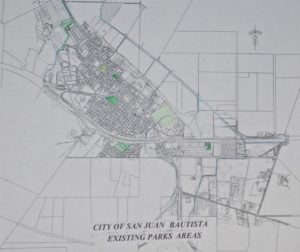 A map of parks in San Juan Bautista. The city's Strategic Planning Committee is working on a parks masterplan.