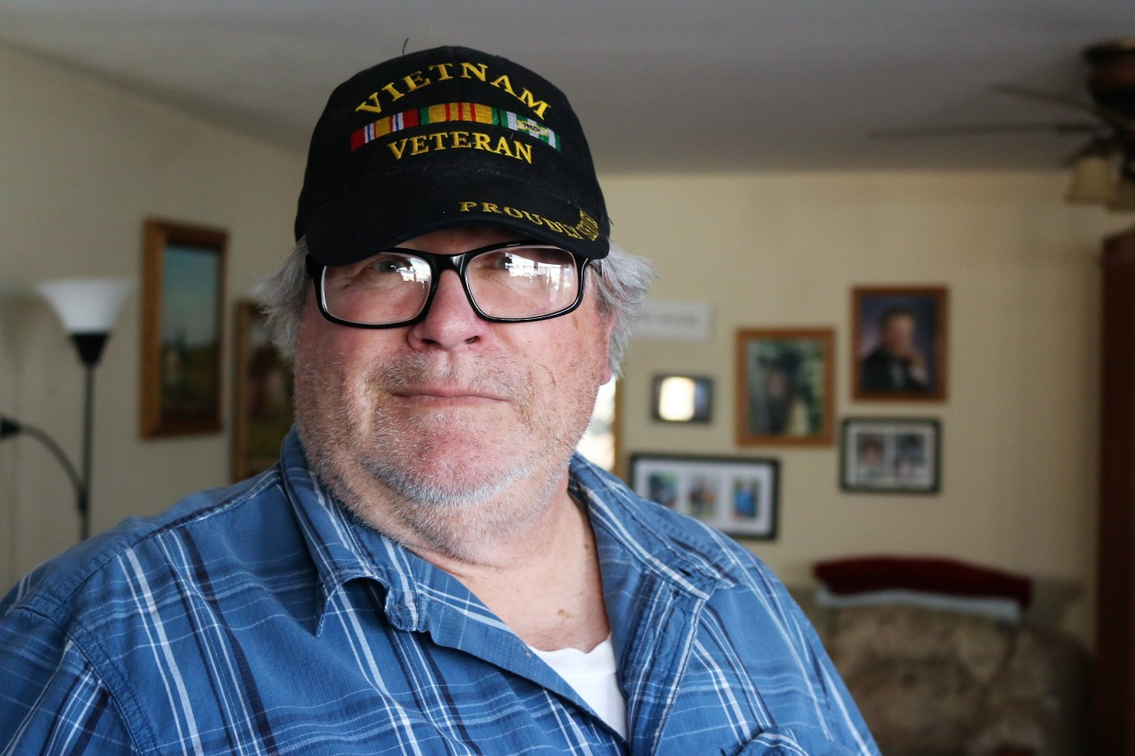 Francis Plesek said he had to hunt online for fellow vets who served at the same air base in Thailand to get photos proving Agent Orange was sprayed there.Photo by John Chadwell.