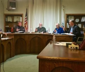 The San Juan Bautista City Council discusses tabling a hearing to remove John Hopper as chairman of the city planning commission Tuesday night at City Hall.