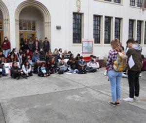 San Benito High School students during 17 minute period of silence. Photo by Leslie David