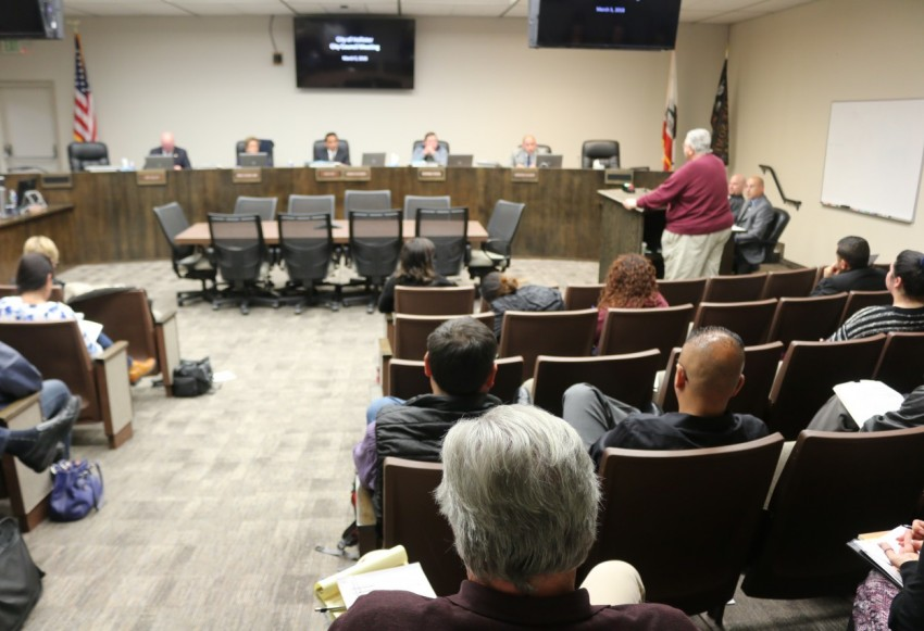 Only Marty Richman (at podium) and Zavan Quezada spoke to the council about the rally. Photos by John Chadwell.