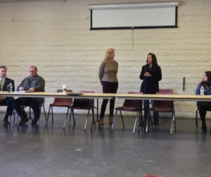 Hollister School District Superintendent Lisa Andrew (center right) and San Benito County Superintendent of Schools Krystal Lomanto speak at the immigration forum.