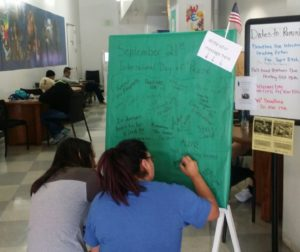 Students in Hollister participating in International Day of Peace activity