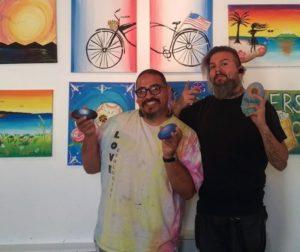 Rolan Resendiz (left) with Arti-Culture Owner Joel Esqueda. Photo by Becky Bonner.