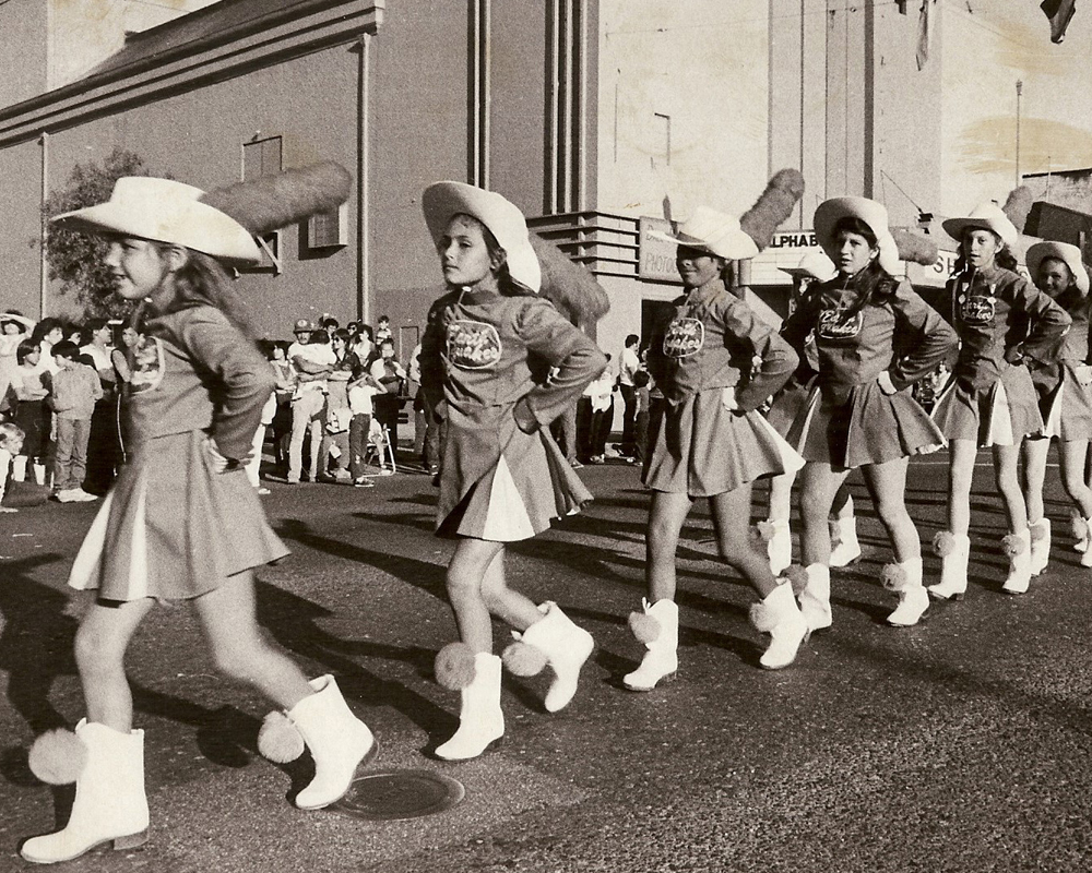 The Hollister Earthquakes Drill Team performed in 1984. Courtesy of SBCHS.