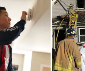 Photo of smoke-alarm installer; photo of home fire