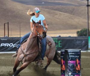 Nielsen competing on her horse, Polly, at the Spurr Ranch barrel race in Shandon. Photo courtesy Brittany Nielsen's Facebook page.