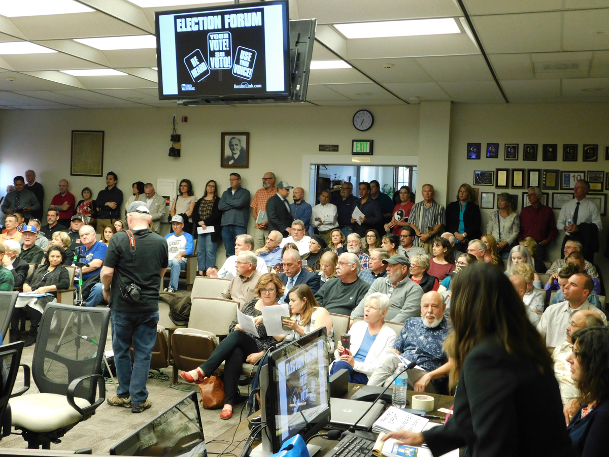 May 3 Election Forum was held at Hollister City Council Chambers. Public attendance was so high, there was standing room only in the back with the lobby full and people waiting on the front steps.
