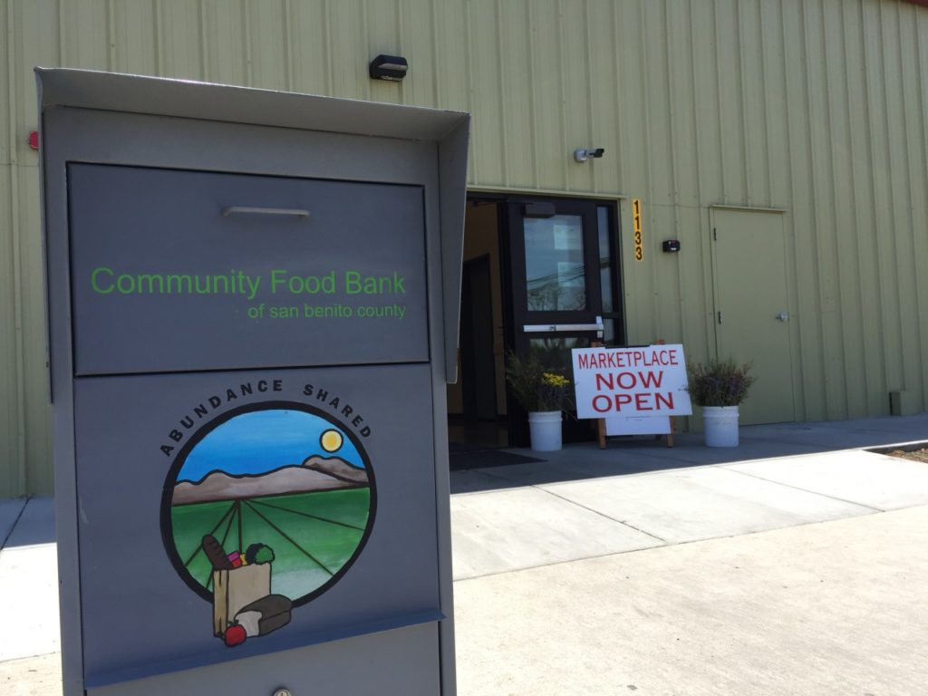 Outside the Community Foodbank. Photo by Nicholas Preciado.