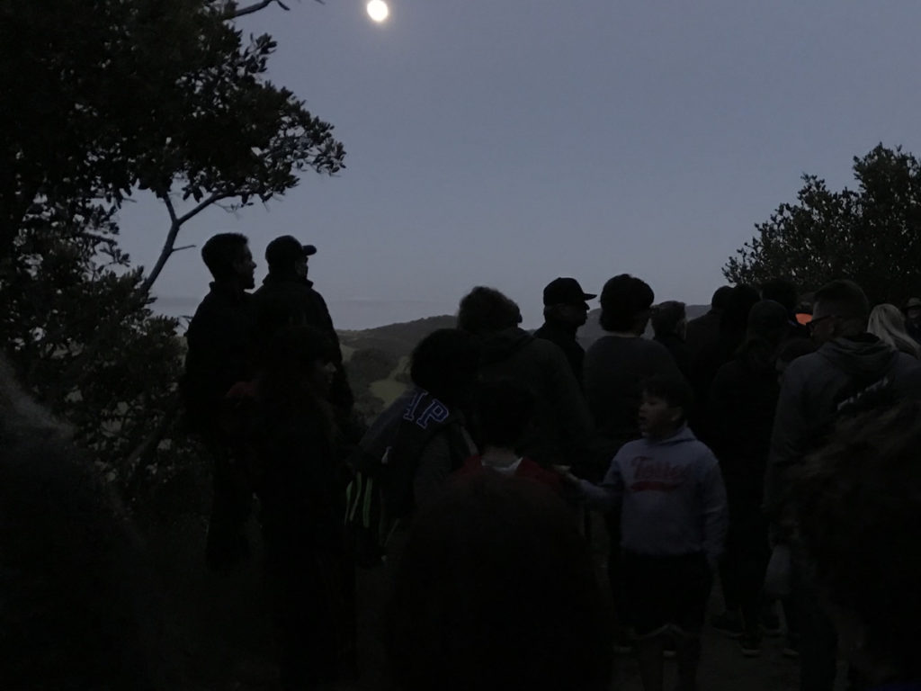 Some walkers went back as soon as the sun set, others waited until the full moon was the primary light source for the walk back. (Photo by Leslie David)