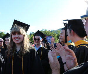 English major and honors student Nicole Jensen, from San Juan Bautista, walked the center aisle at Gavilan College's graduation amid applauding faculty. Photos provided by Gavilan College.