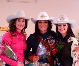 Two young women competed for the title of Miss San Benito Rodeo at Bolado Park on Saturday, June 9. Kelsee French, center, was the winner. Photo courtesy Lisa Tobias.