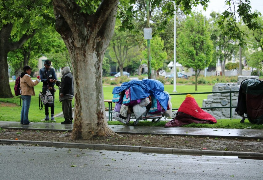 Homeless people at Dunne Park in Hollister. Photo by John Chadwell.