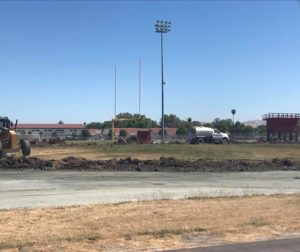 Demolition of Andy Hardin Field is underway. It will be replaced by a new stadium that will be used by San Benito High School football, track and field, soccer, lacrosse, and field hockey teams. Photo provided.