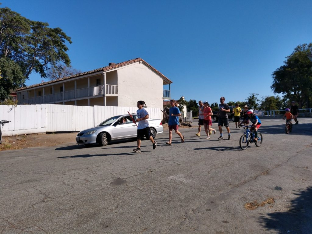 Prayer Run from San Juan Bautista to Indian Canyon takes off. Photo by Carmel de Bertaut.