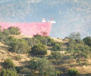 Calfire air attack dropping retardant on the Panoche Fire. Photo courtesy of Nick Peters.