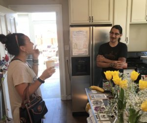 Hollister resident Michelle Pérez-Picha (left) speaks to Calavera Coffee owner Evan Morris (right) at his downtown Hollister coffee shop. Photo by Frank Pérez.