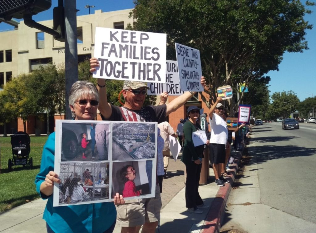 The Saturday, June 30 protest in Hollister was one of over 600 across the nation. Photo by Becky Bonner.