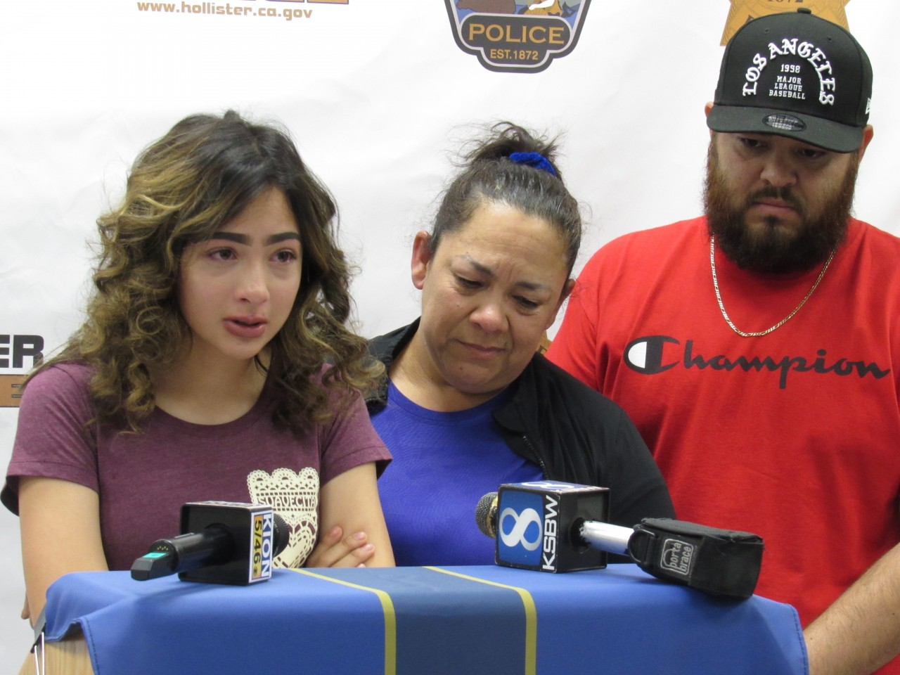 (Left to right) Camila Zendejas, Marisela Zedejas, and Jesus Ruiz at the July 13 press conference. Photo by Noe Magaña.