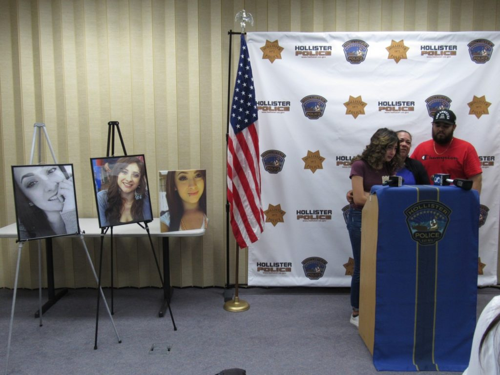 (Left to right) Camila Zendejas, Marisela Zedejas, and Jesus Ruiz standing next to pictures of Ariana Zendejas at the July 13 press conference. Photo by Noe Magaña.