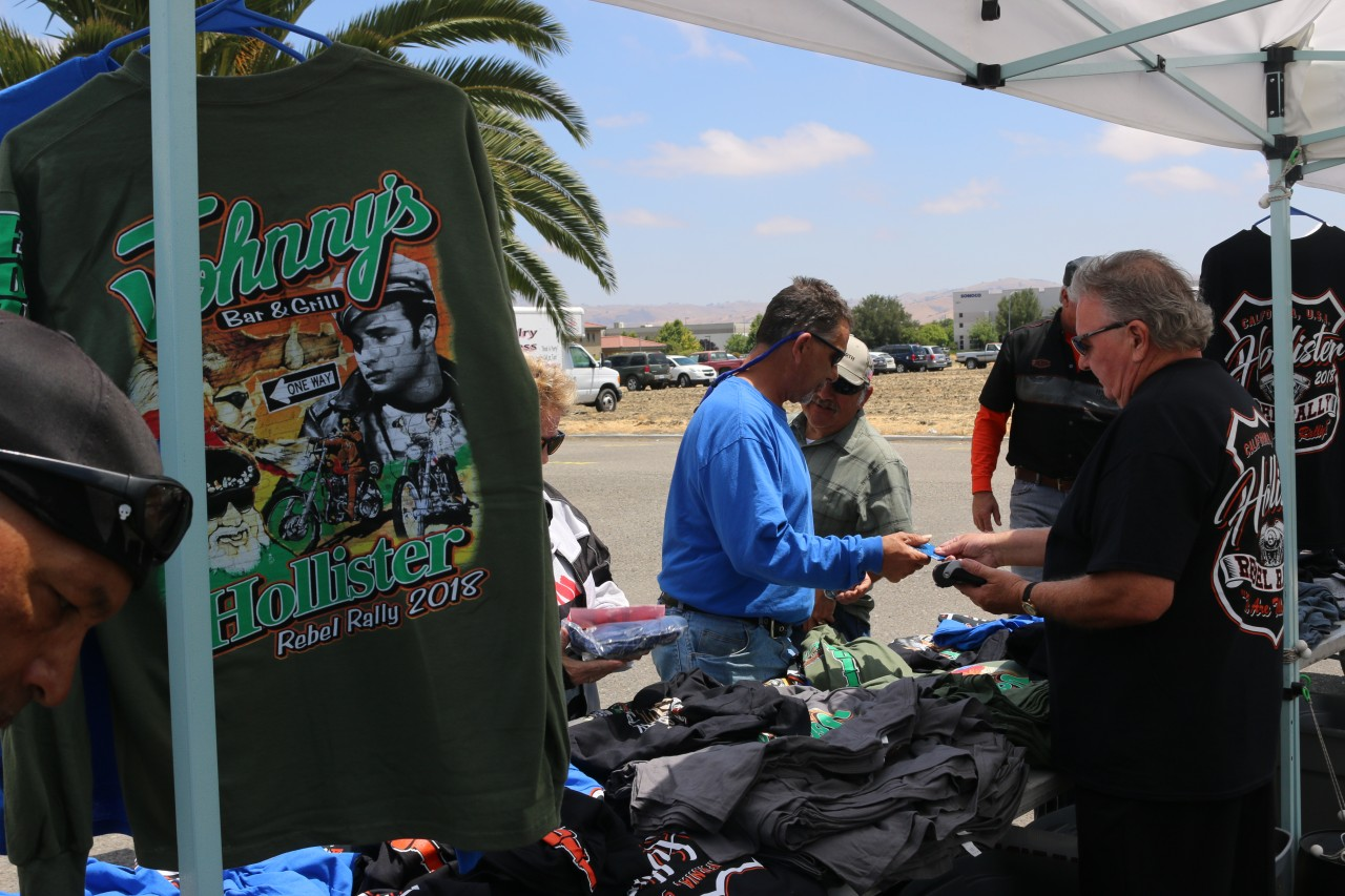 Brian Holt sells t-shirts during the Rebel Rally. He said he will help finance the 2019 rally. Photo by John Chadwell