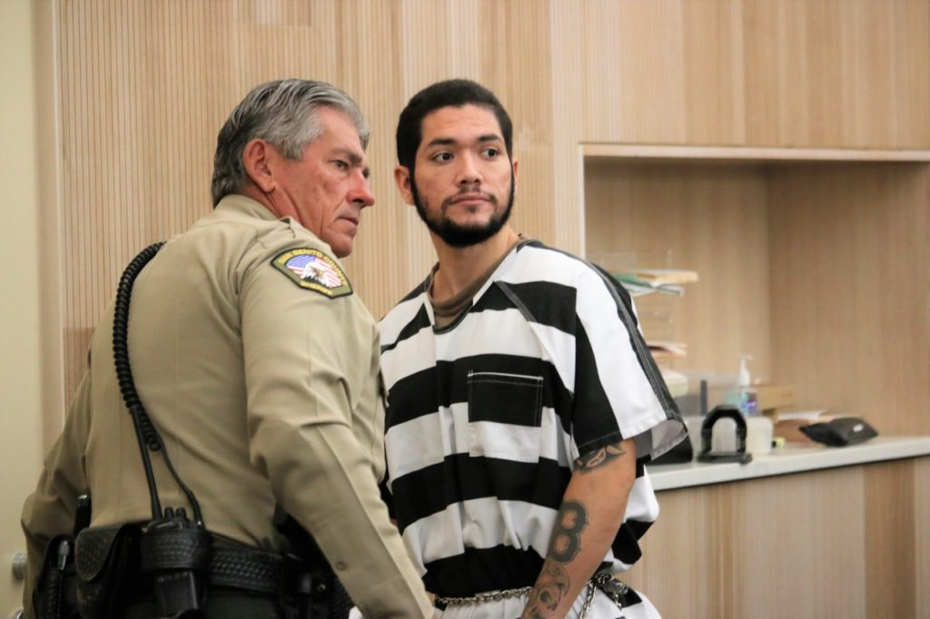 File photo: As he left the court, Barajas glanced back at someone sitting in the gallery. Photo by John Chadwell.