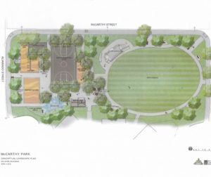 Conceptual design for McCarthy Park. Image provided by the City of Hollister.