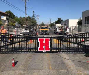 Gates have been installed at Nash Road where it meets Monterey and West streets. The gates will be closed from 7 a.m. to 7 p.m. weekdays once the bypass road is open south of campus. Photo provided by San Benito High School.