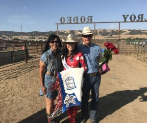Corissa King, Miss Gilroy Rodeo 2019, pictured here with her parents. Photos courtesy of Corissa King.