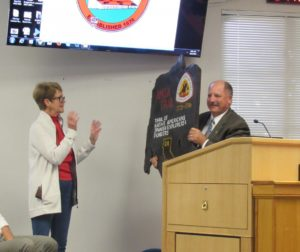 Valerie Egland took the opportunity to thank the board for the work done for the River Parkway Trail project and the maintenance of the Anza Trail. Photo by Noe Magaña.
