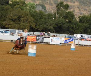 Makiley Loveless competes in the barrel racing at the junior rodeo. Loveless won the 9-13 girls all around and barrel racing. Photo by Blaire Strohn.
