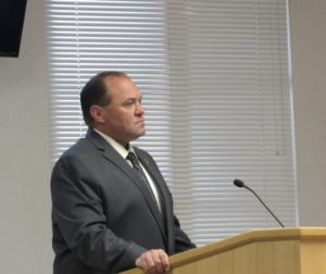 Capt. Eric Taylor speaking to county supervisors about the training staff would receive. Photo by Noe Magaña.
