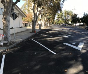 The City of Hollister implemented reverse-angle parking in front of San Benito High School on Monterey Street, with plans to re-stripe the east side of the street near homes and apartments for parallel parking between Nash and B streets. Photo provided.
